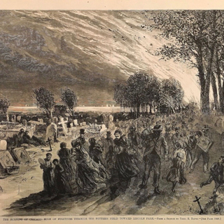 People escaping the Chicago Fire by fleeing into the cemetery in Lincoln Park, 1871